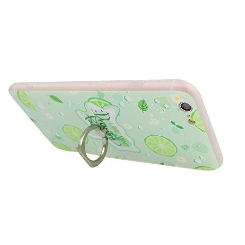 Coque iPhone 6, Rosa Schleife iPhone 6S Case, Ultra Slim TPU Souple Etui Silicone Case et Protection écran pour Apple iPhone 6/6S Relief 3D Pattern Béquille Bague Support Ring Holder Citron
