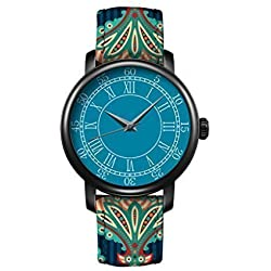 iCreat New Fashion Women Quartz Watches Clear Time Leather Strap Blue Dial Black Case Watchband Design With Aztec Pattern Ethnic Elegance