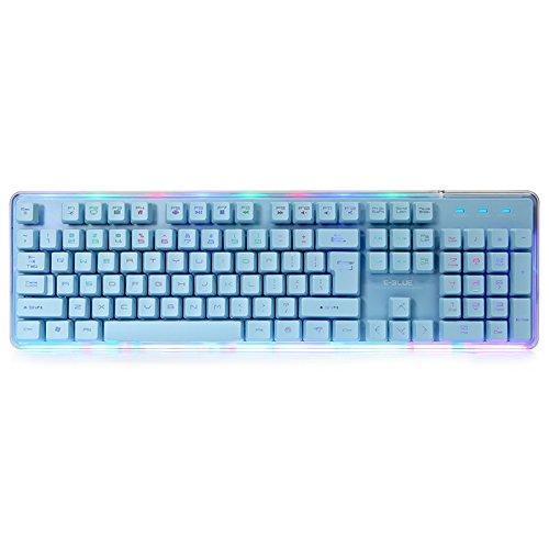 E-3LUE ekm725Mechanical Gaming Tastatur Bunter Hintergrundbeleuchtung 104Tasten PBT Tastenkappen Wasserdicht und Ergonomische Clavier (Spiel Blue-Meteor