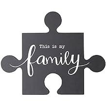 NIKKY HOME Placa de pared de madera con texto en inglés This Is My Family Puzzle