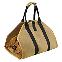 Geboor Firewood Carrier Log Tote Bag 16oz Canvas Fire Wood Holder Fireplace Wood Stove Accessories Padded Handle Storage Bag
