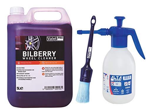 Set ValetPRO Bilberry Wheel Cleaner Felgenreiniger 5l + Felgenpinsel + Sprühflasche