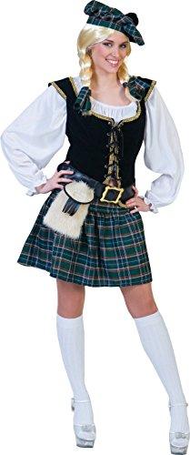 Generique - Kostüm als Schottin für Frauen, S, Weiß