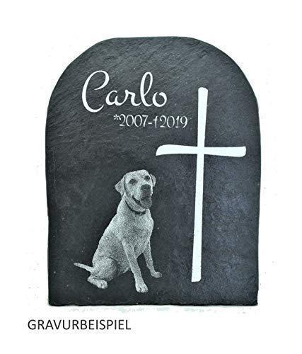 Schieferplatte Hund, Grabstein Tier, Gedenkstein Mensch, Gravur Motiv, Grab, individuell personalisiert