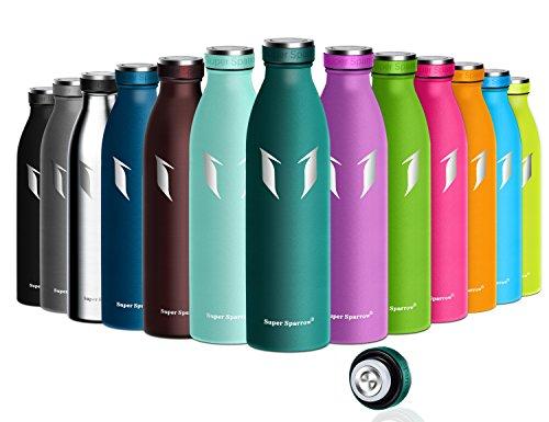 Super Sparrow Trinkflasche Edelstahl - 750ml - Vakuumisolierte Wasserflasche + Edelstahl Auslaufsichere Kappe - Doppelwand Trinkflaschen Für heiße oder kalte Getränke - BPA Frei | Ideale Sport Flasche für Fitness, Yoga, Trekking