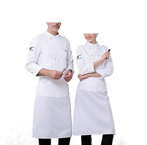 Juabc Unisex Küchenchef Uniform Langarm Mantel Und Schürze Restaurant Uniform Hemd Kleidung Bäckerei Unter Chef Mantel Shouider 47,5 cm Fehlschlag 114 cm Taille 110 cm Länge 75 cm