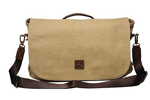 SOUVE BAG Canvas Messenger Bag Oslo I Laptoptasche bis 15,6 Zoll in verschiedenen Farben I wasserabweisende Umhängetasche aus Canvas-Baumwolle I hochwertige Schultertasche mit Laptopfach (Messenger Travel Bag)