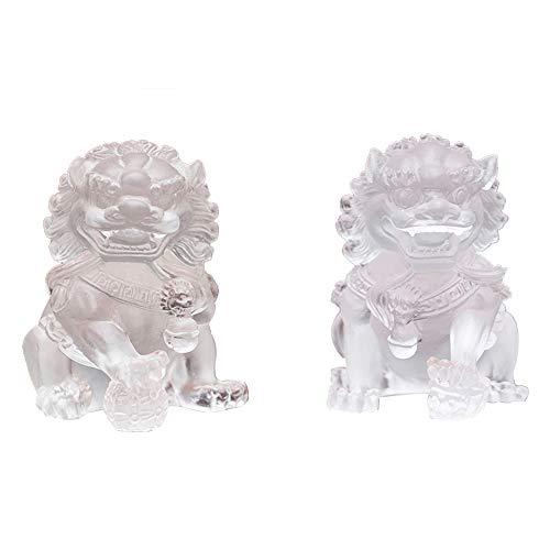 EIN Paar Pekinger Löwenpaar Fu FOO Dogs-Statuen-Wächter, hergestellt aus Liuli, chinesisches Feng Shui-Dekor, für Haus und Büro, Wohlstand und viel Glück anziehen, White - Outdoor-löwen-statuen