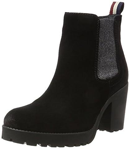 Hilfiger Denim Damen B1385OO 1B Chelsea Boots, Schwarz (Black), 37 EU