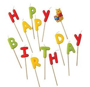 Procos - 9294-Velas en forma de palillo de Winnie the Pooh con el mensaje «Happy Birthday» - 14unidades de color amarillo, rojo y verde