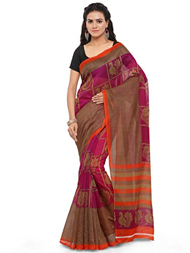 Craftsvilla Women's Cotton Blend Saree With Blouse Piece (Mcraf50550642690_Magenta)  available at amazon for Rs.499