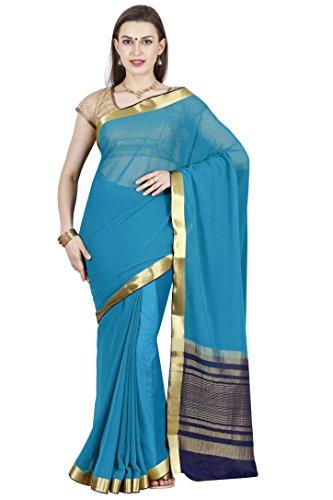 arars mysore silk sarees shiffon creape ( CRP01 B LUE )