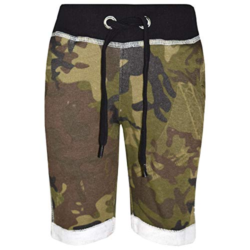 3 4 Hose (A2Z 4 Kids Jungen Shorts Kurze Hose Kinder Vlies - Boys Fleece Shorts Camo Green 3-4)