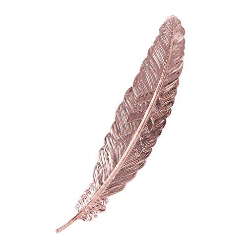 Baiyao Segnalibro in metallo, con rivestimento in ottone, a forma di piuma, classico, realizzato a mano (oro rosa)