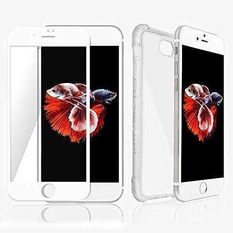 Coque iPhone 7 Transparent & Protecteur d'écran (Bord Blanc) Meilleure 360° Protection Invisible pour téléphone Apple, Technologie Anti-glissement & de Pare-chocs d'air qui Empêche la Casse