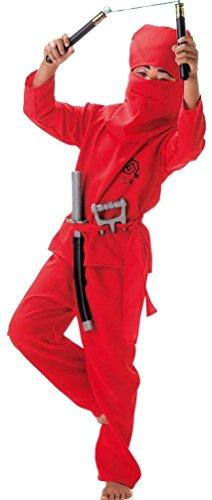 Ninja Red Kind Kostüm Fighter - Unbekannt Faschingskostüm Red Ninja, Ninja-Kostüm 2tlg. mit Haube, für Karneval, Fasching, Kindergeburtstag (128)