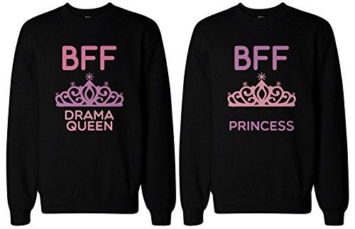 365impresión Cute A Juego BFF Sudaderas para mejores amigos Drama Reina y Princesa Negro negro