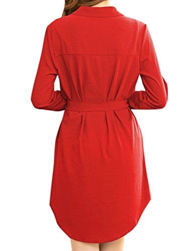 sourcingmap Damen Ärmel zum Hochkrempeln Tunika-Shirt Kleid mit Hüfte Seiten Rot