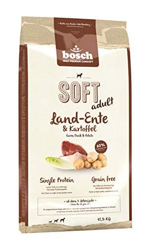 bosch HPC SOFT Land-Ente & Kartoffel | halbfeuchtes  Hundefutter für ausgewachsene Hunde aller Rassen | Single Protein | Grain Free, 1 x 12.5 kg