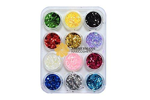 Pailletten Glitter Glitzer Glitter Glimmer Oktagon Nailart Nägel - 12 Farben je 5 gr. (Machen Farbe Mischen Karte)
