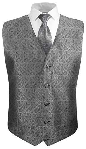 Festliche Jungen Anzug Weste mit Krawatte 2tlg silber grau paisley für Kinderanzug Gr. 14