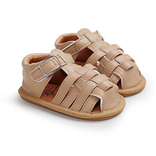 Itaar Baby Streifen Sandalen Lauflernschuhe Babyschuhe Sommer PU Leder mit weicher rutschfester Sohle für Junge Babys 0-18 Monate Khaki