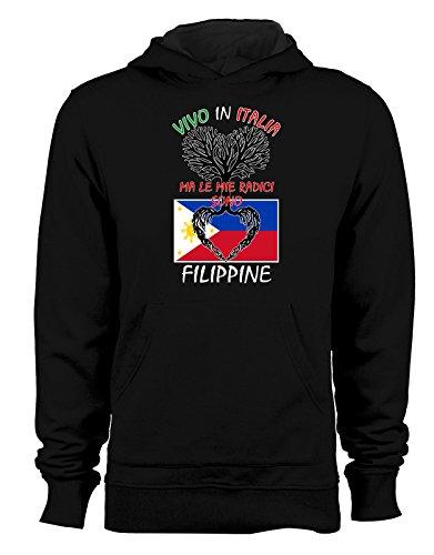 Felpa con cappuccio Vivo in Italia ma le mie radici sono filippine- Italy - Filippine - humor - idea regalo - in cotone Nero