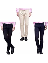 Nimegh Cream, Black And Navy Blue Color Cotton Casual Slim Fit Trouser For Men's (Pack Of 3)