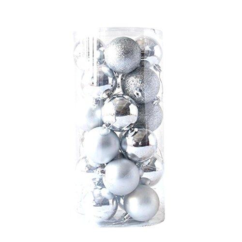Gaddrt 24pcs Glänzender und polierter glatter Weihnachtsbaum-Ball verziert Dekorationen 1.5 '' (Silber)