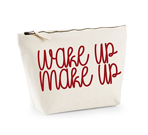 Wake Up, Make Up - Fun Slogan, Make Up and Cosmetics Bag, Accessory Organiser Natural/Red