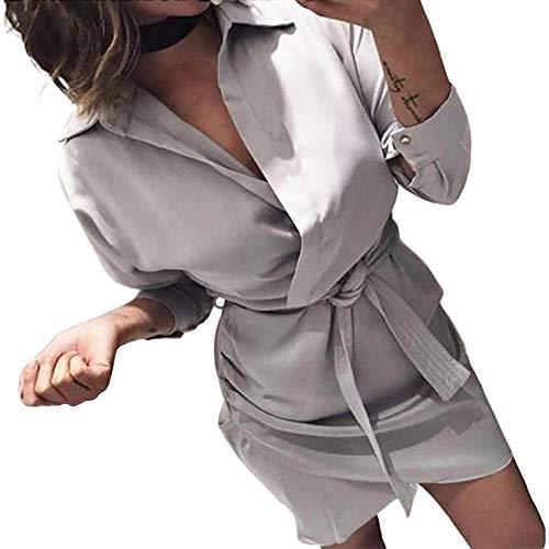 ESAILQ Damen Mode-Lange Hülsen-Herbst-zufälliges geknotetes Blusen-Kleid(S,Grau)