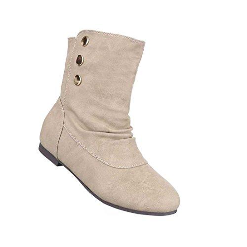 Damen Stiefeletten Schuhe Leicht Gefütterte Boots Schwarz Grau Beige 36 37 38 39 40 41 Beige