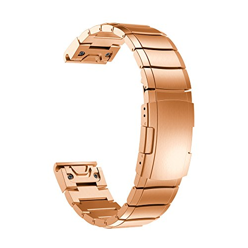 Für Garmin Fenix 5S Plus Armband,JSxhisxnuid Luxus Edelstahl Strap Armbänder Ersatz Handschlaufe Metall ersatzband Bracelet fitnessarmband Für Garmin Fenix 5S Plus Männer/Frauen (Roségold)