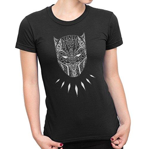 TeeTrumpet Black Panther Mandala Tribal Mask Women's T-Shirt