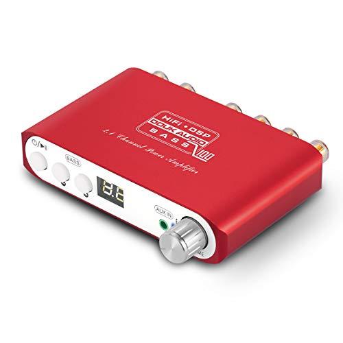 Q100 2.1 Channel Hi-Fi Bluetooth Verstärker , Class D Stereo Audio Amplifier , Mini Home Theater Power Speaker Amp , Digital Subwoofer Amplifier, Wireless Audio Empfänger , 80W+40Wx2 , Dual DSP (Red) (Home Power Subwoofer)