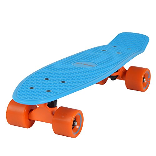 Apollo Fancy Skateboard, Vintage Mini Cruiser, Komplettboard, 22.5inch (57,15 cm), Mini-Board mit Holz Oder Kunstsoff Deck mit und Ohne LED Wheels, Farbe: Blau/Orange