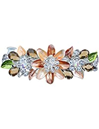 Fleur Epingle à Cheveux Pleins de Strass Cristal Colorés Clip à Cheveux de Mode