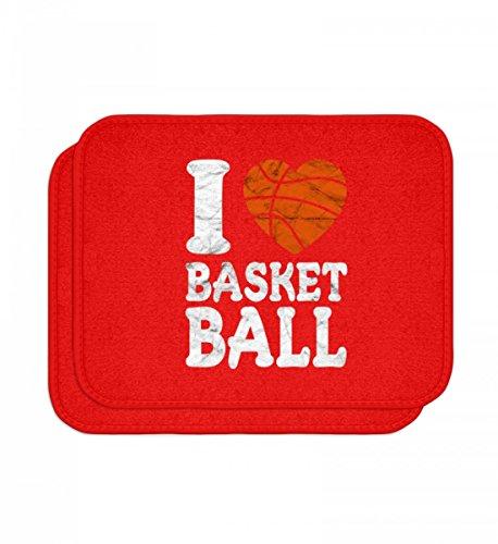 Hochwertige Automatten - I Love Basketball T-Shirt - Geschenk Basketballer/Fan, Spieler, Trainer, Herz, Used Look