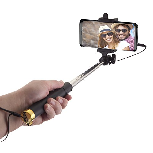 Power Theory Selfie Stick - Batterieloser Selfiestick ohne Bluetooth für iPhone XS Max X 8 7 Plus 6s 6 SE 5S 5 Samsung Galaxy Android S9 S8 S7 Edge S6 S5 S4 Note Mini GoPro Smartphone - Universal Monopod Stab mit AUX Kabel (Gold)