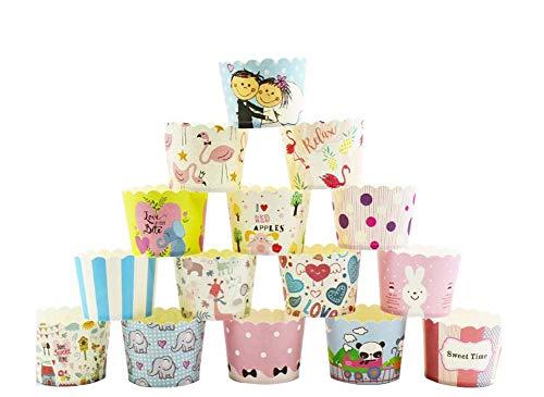 Tukistore 100 Papier Cupcake Dessert Muffinform Papier Muffin Cases Cupcake Wrapper Greaseproof Cupcake Papier Liner Keine Muffin Pan benötigt Cupcakes Papers (Gelegentlich Bunt,kleine Größe) - Kleine Cupcake Pan