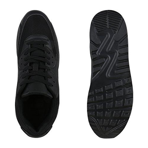 Stiefelparadies Unisex Sportschuhe Damen Herren Sneaker Laufschuhe Neon Camouflage Metallic Schuhe Glitzer Leder-Optik Übergrößen Flandell Schwarz Full