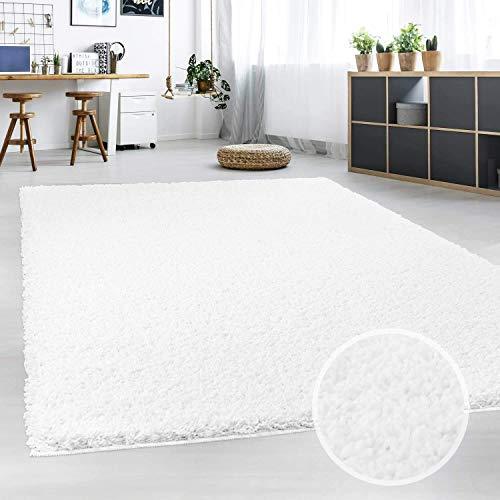 Hochflor Teppich   Shaggy Teppich fürs Wohnzimmer Modern & Flauschig   Läufer für Schlafzimmer, Esszimmer, Flur und Kinderzimmer   Langflor Carpet weiß 140x200 cm