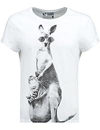 YOURTURN Camiseta de Hombre en Blanco o Azul con Dibujo de Gato y Canguro, estampado