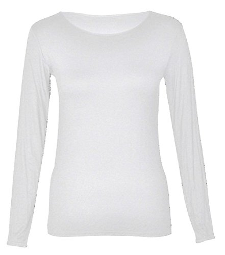 Funky boutique lignes body manches longues pour femme avec rundausschnitt 36–50 eU Blanc - blanc
