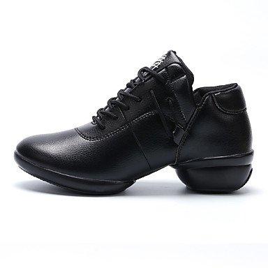 Damen Tanzschuhe Leder Leder Modern Sneakers Chunky Ferse Performance Schwarz Rot Weiß Black