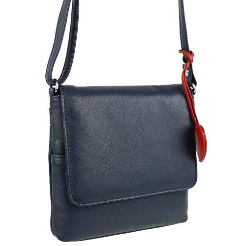 Mala Leather, Borsa a tracolla donna Multicolore rosa small Blu