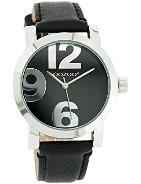 Oozoo XL Damenuhr mit Lederband - JR194 - Schwarz/Schwarz