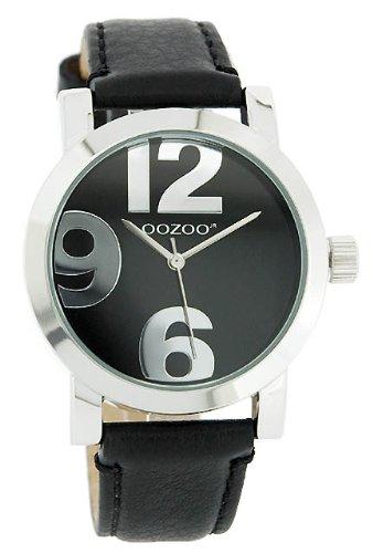 Oozoo XL Damenuhr mit Lederband – JR194 – Schwarz/Schwarz