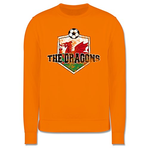 EM 2016 - Frankreich - Wales- The Dragons Vintage - Herren Premium Pullover Orange