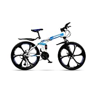 OneChange Fashion 24 speed folding mountain bike 24 inches beach boys and girls double shift shock absorber damping adult commuter double-double disc brakes (Color : Blue, Size : 24 inches)
